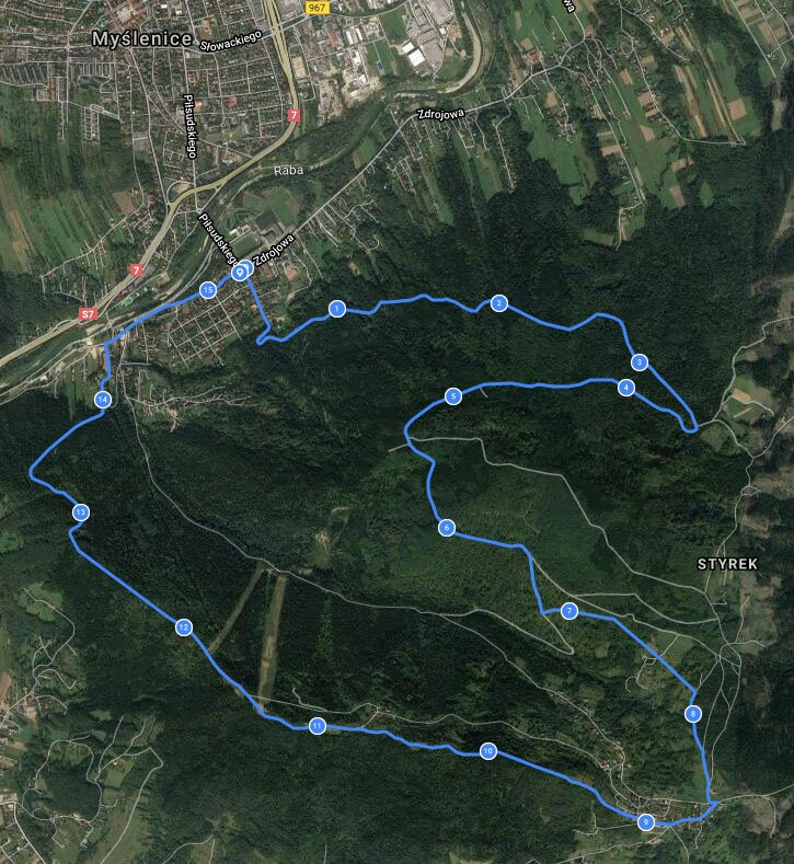 Bieg po lesie w Myślenicach