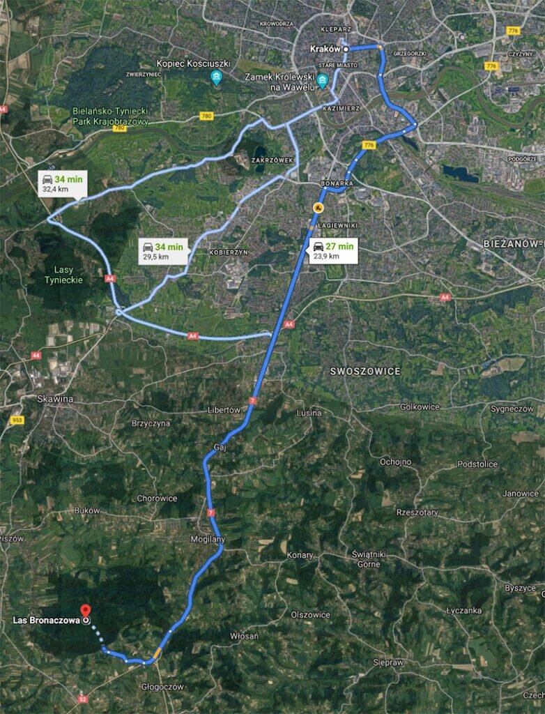 Las Bronaczowa - dojazd z Krakowa