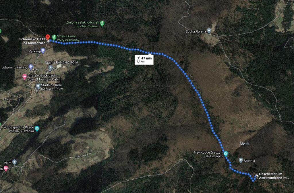 Trasa ze schroniska na Kudłaczach do obserwatorium astronomicznego