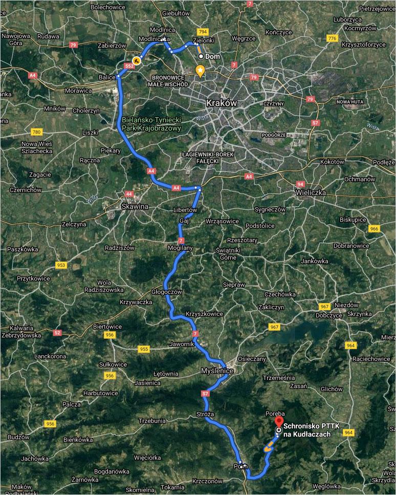 Trasa autem z Krakowa na Kudłacze