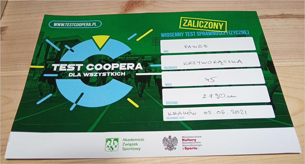 Paweł na teście Coopera na AWF w Krakowie